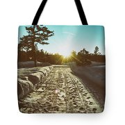 Winter Driveway Sunset Tote Bag