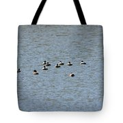 Winter Ducks Swimming Away  Tote Bag