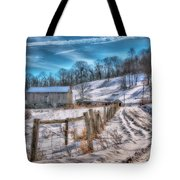 Winter Farm Barn In Snow  Tote Bag