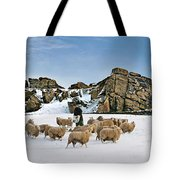 Winter Feed Almscliff Crag. Tote Bag