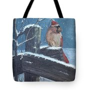Winter Female Cardinal Tote Bag