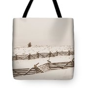 Winter Fence In Oregon Tote Bag