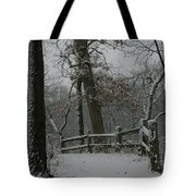 Winter Fence Trail Tote Bag by Dylan Punke