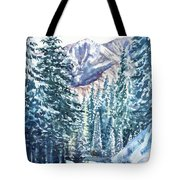 Winter Forest And Mountains Tote Bag