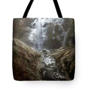 Winter Freeze At Multnomah Falls Tote Bag