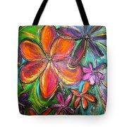 Winter Glow Flower Painting Tote Bag
