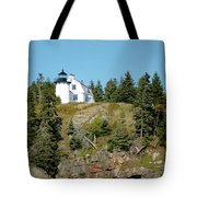 Winter Harbor Lighthouse Tote Bag