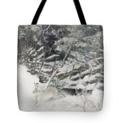 Winter Hare At The Fence Tote Bag