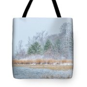 Winter Hoarfrost On The River Tote Bag