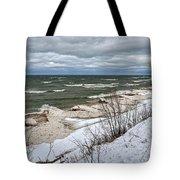 Winter Ice On Lake Michigan Ll Tote Bag