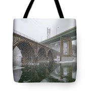 Winter In East Falls Along The Schuylkill River Tote Bag