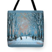 Winter In The City Park Tote Bag