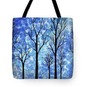 Winter In The Woods Abstract Tote Bag