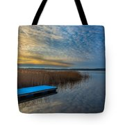 Winter Lake View With A White Rectangle Tote Bag by Julis Simo