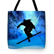 Winter Landscape And Freestyle Skier Tote Bag