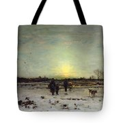 Winter Landscape At Sunset Tote Bag by Ludwig Munthe