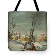 Winter Landscape Of A Village Tote Bag