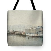 Winter Landscape Over Skeppsbron, Stockholm Tote Bag