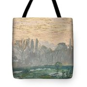 Winter Landscape With Evening Sky Tote Bag