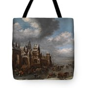 Winter Landscape With Horses Sleighs And Skaters In Front Of A Fortified Town, Tote Bag