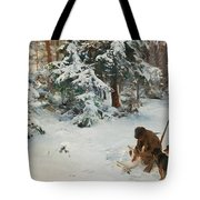 Winter Landscape With Hunters And Dogs Tote Bag