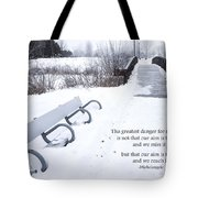 winter landscape with Inspirational Text Tote Bag