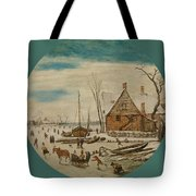 Winter Landscape With Skaters And A Farm House Tote Bag