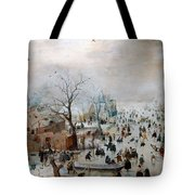 Winter Landscape With Skaters Tote Bag