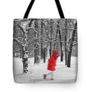 Winter Landscape With Walking Gir In Red. Blac White Concept Gra Tote Bag