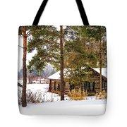 Winter Log Cabin 3 - Paint Tote Bag