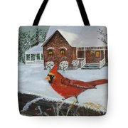 Winter Male Cardinal Tote Bag