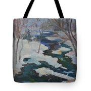 Winter Mill Stream  Tote Bag