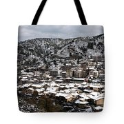 Winter Mountain Village Landscape With Snow Tote Bag
