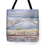 Winter Panorama From The River Mural Tote Bag