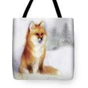 Winter Red Fox Tote Bag