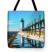 Winter Reflection At Manistee Light Tote Bag