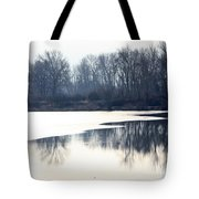 Winter Reflection On The Yakima River Tote Bag