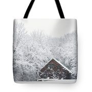 Winter Ride Snowy Pond Tote Bag