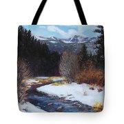 Winter River Bend Tote Bag