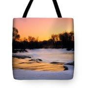 Winter River Sunrise Tote Bag
