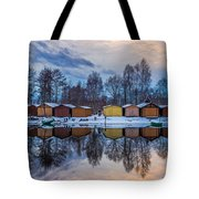Winter Riverside Reflected Tote Bag by Julis Simo