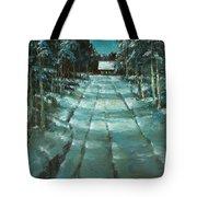 Winter Road In Village Tote Bag