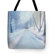 Winter Road Krkonose Mountains, From Photo By Milos Polacek Tote Bag