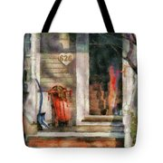 Winter - Rosebud And Shovel - Painted Tote Bag by Mike Savad