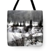 Winter Scene In Black And White Tote Bag