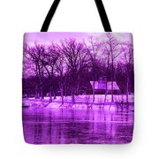 Winter Scene In Violet Tote Bag