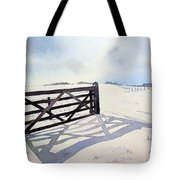 Winter Scene With Gate Tote Bag