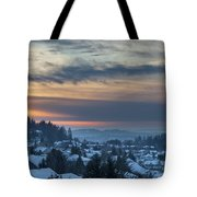 Winter Snow At Sunset In Happy Valley Oregon  Tote Bag