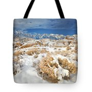 Winter Snowstorm Blankets The Alabama Hills California Tote Bag