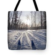 Winter Sport X-country Skis In Sunny Forest Tracks Tote Bag